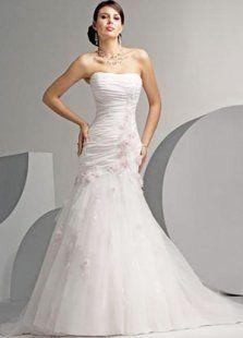 Pleated Bodice Strapless Mermaid Trumpet Satin Wedding Dress