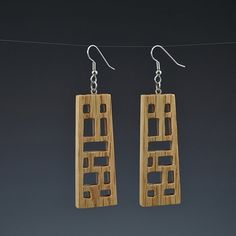 Wooden Wright 1 Earrings Upcycled earrings Recycled by ArtistInFla