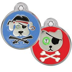 Pirate Dog and Cat Pet ID Tags - Personalized. Custom Engraved with up to 4 Lines of Text. (Pirate Dog, Regular) *** Check this awesome product by going to the link at the image. (This is an affiliate link) Cat Tags, Dog Id Tags, Personalized Tags, Pet Id, Cat Collars, White Enamel, Custom Engraving, Pet Supplies, Pirates