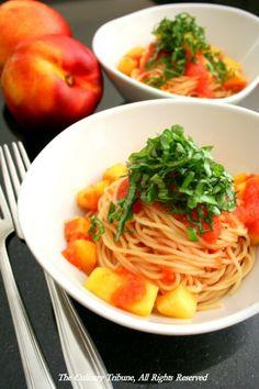 Nectarine Tomato Pasta with Basil