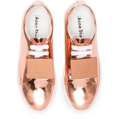 Acne Studios Adriana Metallic Leather Sneakers (€220) ❤ liked on Polyvore featuring shoes, sneakers, flats, sapatos, leather platform shoes, metallic flat shoes, flat pumps, leather upper shoes and flats sneakers