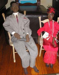 Vintage Daddy Long Legs Dolls Rev. Johnson & Babe Bouchard w/ Chairs byK Germany