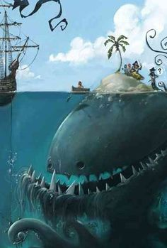 A Digital illustration artwork is a displayed visualization form presented as a drawing, painting, photograph or other work of illustration art that is created Le Kraken, Arte Horror, Sea Monsters, Art Plastique, Mythical Creatures, Dark Art, Digital Illustration, Pirate Illustration, People Illustration