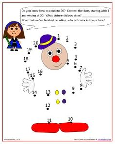 Free Counting to 20 connect-the-dots worksheet.