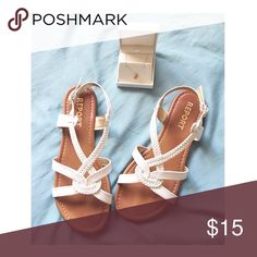 Report white sandals No box. Slight wear. Almost like new Report Shoes Sandals