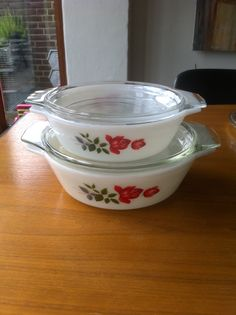 Vintage PYREX with roses.
