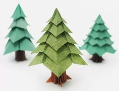 Get into the Christmas spirit by making these 10 festive origami projects. Get into the Christmas spirit by making these 10 festive origami projects. Ranging from easy to adv Origami Christmas Tree Card, Origami Tree, Instruções Origami, Paper Christmas Decorations, Easy Christmas Ornaments, Money Origami, Origami Design, Christmas Crafts, Christmas Trees
