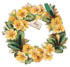 "yellow primrose wreath ~ ""Joy."""