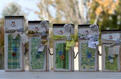 Snowman family wooden blocks.