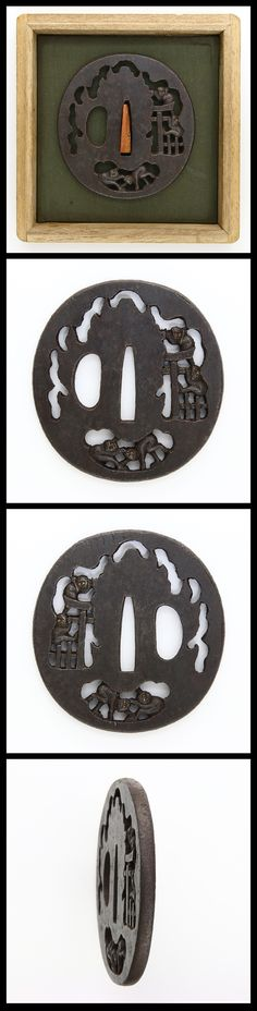 Round shape iron Tsuba, Torii(Shinto shrine archway) and monkeys are engraved with open work