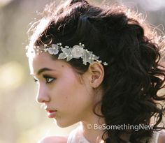 Hair vine Wired pearls and vintage flower by BeSomethingNew, $87.00