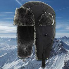 5308afe27b309 Black Premium Vegan Fur Ushanka Aviator Eskimo Trapper Hat