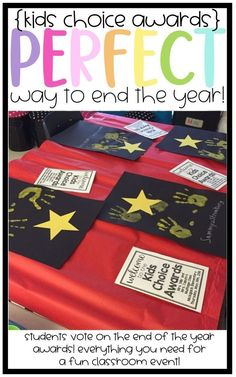 AKEEM LOVED THIS IDEA! End of the Year Kids Choice Awards! The perfect end of the year celebration that allows your students to vote on their awards and then have an entire celebration that they present awards to each other! End Of The Year Celebration, End Of Year Party, End Of School Year, Beginning Of School, Kids Choice Awards, Kids Awards, Student Awards, End Of Year Activities, Kindergarten Activities