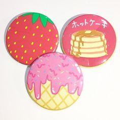 Strawberries, Hotcakes & Ice Cream Button Set   💕 Use my code: 'NAMJINSTHETIC12' for 10% off on manduapparel.com 💕