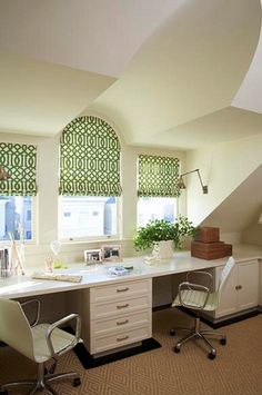 Love the imperial trellis fabric on these roman shades.  Want them in my kitchen.