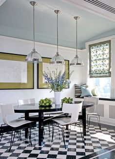 House of Turquoise: Blue Painted interior design 2012 interior design designs Black And White Dining Room, Black And White Tiles, Black White, White Walls, House Of Turquoise, Modern Dining Table, Dining Table Chairs, Dining Area, Kitchen Dining