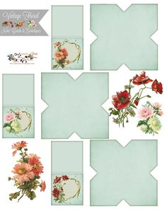 free from glenda's World Vintage floral tiny note cards w/envelopes