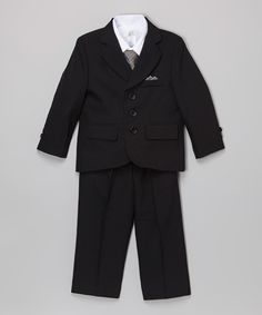 This Black & Gray Five-Piece Suit - Toddler & Boys by Sweet Kids is perfect! #zulilyfinds