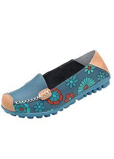MatchLife Damen Vintage Leder Flach Pumpe Casual Schuhe Style2 Blau 36 - http://on-line-kaufen.de/matchlife/eu36-ch37-matchlife-damen-vintage-leder-flach-45