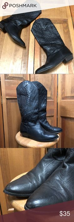 Black Genuine Leather Western Cowboy Boots Size 10 Perforated shaft  Condition pictured  Slip on Boots  Normal wear   Like this item for pricing updates    Items ship out ASAP (usually next business day)   Answer to Questions / Measurements asked for after 6pm/before 12 Or on Sunday will be delayed but feel free to ask!   Save 15% by purchasing more than one item!   Measurements are Approximate   Keywords: Shoes