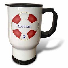 3dRose Captain lifesaver - ship life preserver - nautical boat ocean sailing - yacht sailor - sea fisherman, Travel Mug, 14oz, Stainless Steel