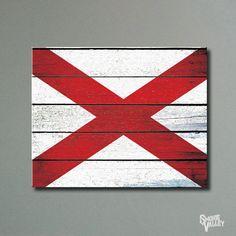 Rustic Distressed Alabama Flag 16x20 Canvas Print by SmokieValley