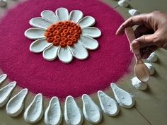 Beautiful Rangoli Designs Using Spoon Easy Rangoli Designs Diwali, Rangoli Designs Latest, Rangoli Designs Flower, Free Hand Rangoli Design, Small Rangoli Design, Rangoli Ideas, Rangoli Designs Images, Rangoli Designs With Dots, Mehndi Art Designs