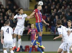 Vasili Berezutski manages to get his head onto the ball despite the attentions of Spurs' in-form forward Son Heung-Min Champions League, Moscow, Victorious, Sons, Russia, Twin, Kicks, Football, Fashion