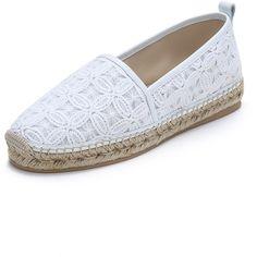 Club Monaco Ryan Espadrilles (155 CAD) ❤ liked on Polyvore featuring shoes, sandals, white lace, famous footwear, crochet espadrilles, white sandals, espadrille sandals e women shoes