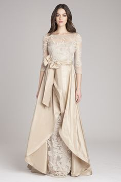 Long sleeve champagne gown for Mother of the Bride