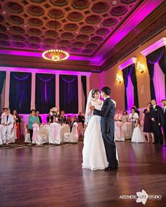 """We love how Lauren and Jonathyn's pink and white theme looked in the Grand Ballroom!  The up lighting enhanced the space, providing that extra touch of """"wow"""".  Thank you Aesthetic Life Studio!"""
