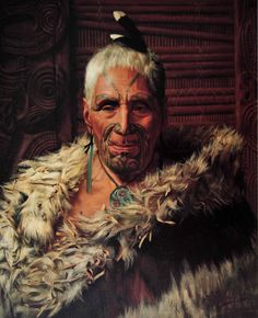 """Perema Te Pahau: The Bone Scraper"" painted by Charles F. New Zealand Tattoo, New Zealand Art, Ta Moko Tattoo, Maori Tribe, Polynesian People, Maori People, Maori Tattoo Designs, Nz Art, Maori Art"