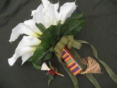 Kente Bridal Bouquet Bokay Tassle Handle African American Wedding Jumping Broom Boutonniere