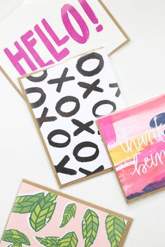 These bright and graphic thank you cards were just screaming at me, I had to add them to the shop! Finally, vibrant modern greeting cards just as colorful as our cool cat friends!