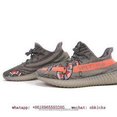 7ff1a61b6e7 Custom Adidas Yeezy Boost 350 V2 Gucci Version Grey Orange Snake Kanye West  Basf Teath