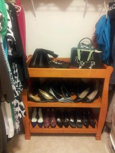 Changing table repurposed as shoe & purse shelf