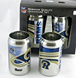 Los Angeles Rams NFL  Chrome Can Glass Tumbler  Looks Like a Beer Can but Its a Solid Thick Glass Tumbler 12 Oz Two Pack
