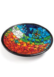 Abstract rainbow mosaic terracotta bowl