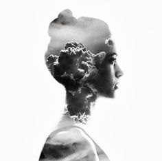 Double Exposure by Aneta Ivanova. Black and white girl profile photography