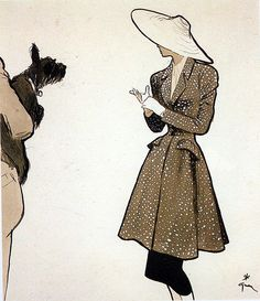 (••)                                                                      Rene Gruau Lovely coat textile for a fabric minx!