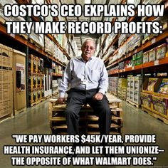 Addicting Info – Socialism, Anyone? Profits Soar For Costco Days After CEO Endorses Minimum Wage Hike Labor Union, Lol, Thats The Way, Faith In Humanity, Health Insurance, Social Issues, Good People, Smart People, Amazing People