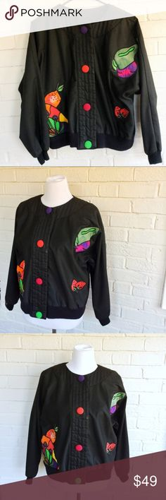 Vintage SilkScapes silk cotton boxy fruit jacket Make an offer! No trades. Bundle and save - I'm a fast shipper!  Item 49 Inventory: R1 Vintage Jackets & Coats Utility Jackets