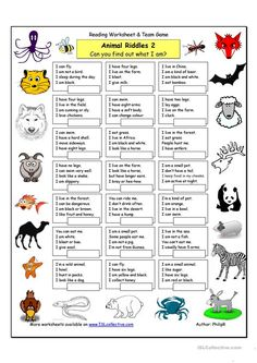 animals worksheet Animal Riddles 2 (Medium) worksheet - Free ESL printable worksheets made by teachers Animal Riddles, Animal Worksheets, Animal Activities, Printable Worksheets, Listening Activities, London Activities, English Games, English Activities, English Lessons