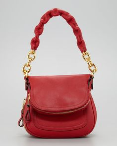 Tom Ford Jennifer Calfskin Maxi-Chain Shoulder Bag, Red - Neiman Marcus