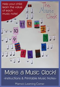 Make a Music Clock!  Includes instructions and free printable music notes to help your child learn the value of music notes.
