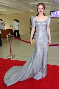 Maria clara in off white/pearl and purple Modern Filipiniana Gown, Filipiniana Wedding, Principal Sponsors Gown, Philippines Dress, Filipino Fashion, Long Skirts For Women, Gowns Of Elegance, Traditional Dresses, Evening Gowns