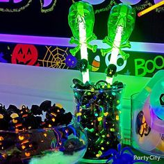 Glow sticks make for a scary-good alternative to candy to handout on Halloween!