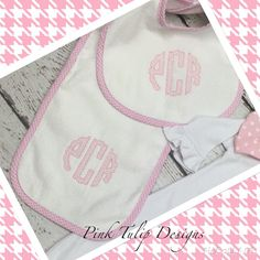A personal favorite from my Etsy shop https://www.etsy.com/listing/266307000/monogrammed-girls-bib-and-burp-set