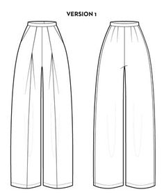 Details Features Recommended Fabrics ESTHER is a loose fitting, wide-leg pant. The front of the pant features two angled overlapping pleats and a center seam al Kleidung Design, Flat Sketches, Clothing Sketches, Fashion Design Sketches, Fashion Designers, Drawing Clothes, Technical Drawing, Fashion Sewing, Fashion Flats