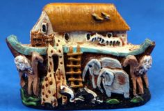 S P MINIATURES - hand crafted dollhouse miniatures and scale miniatures Noah's ark figurine - 1 wide Small Figurines, Miniature Figurines, Ark, Dollhouse Miniatures, Artisan, Country, Crafts, Manualidades, Rural Area